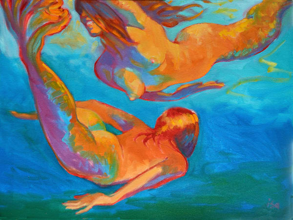 Isa Maria paintings, prints - ocean, goddess, woman - Mermaids Swimming