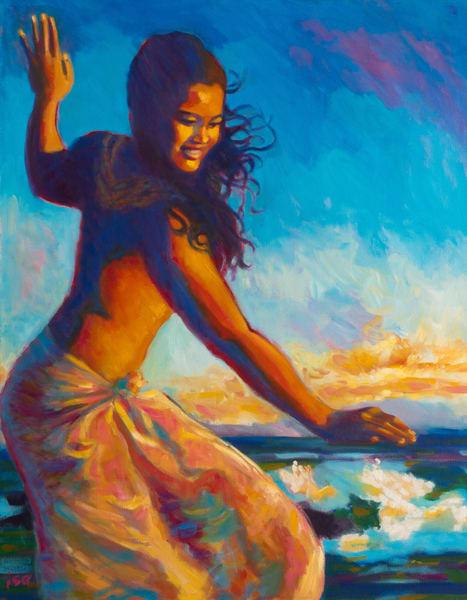 Isa Maria paintings, prints - Hawaii, Kauai, hula, dancer - Salt Pond Sunset