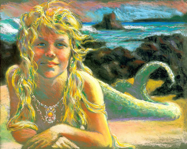Isa Maria paintings, prints - Hawaii goddess portraits - Kealia Mermaid
