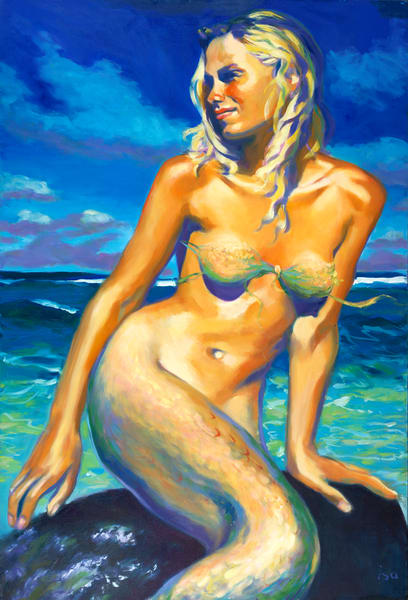 Isa Maria Art Magic - paintings, prints - mermaids - Golden Goddess