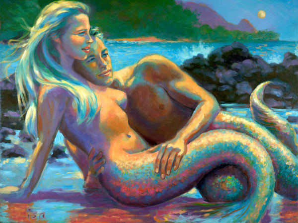 Isa Maria paintings, prints - Kauai, Hawaii mermaids - Lumahai by Moonlight