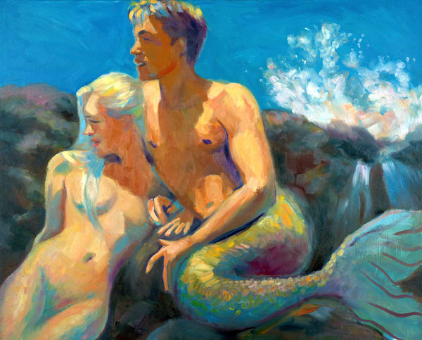 Isa Maria paintings, prints - Kauai, Hawaii mermaids - Lumahai in Sunshine