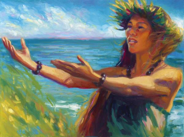 Isa Maria Art Magic - oil paintings, prints - portraits of Hawaii - Waiakalua Wind