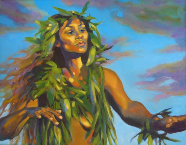 Isa Maria - oil paintings and prints - portraits of Hawaii goddesses and mermaids - Evening Blessing