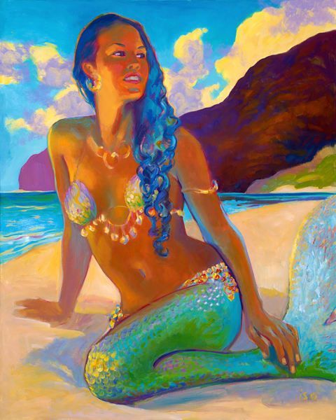 Isa Maria Art Magic - paintings, prints - Hawaii goddesses - Polihale Mermaid