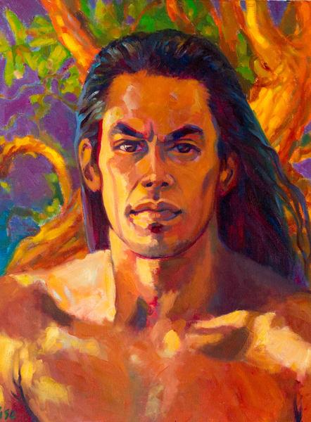 Isa Maria paintings and prints - Hawaii portraits, goddesses - God of Thunder
