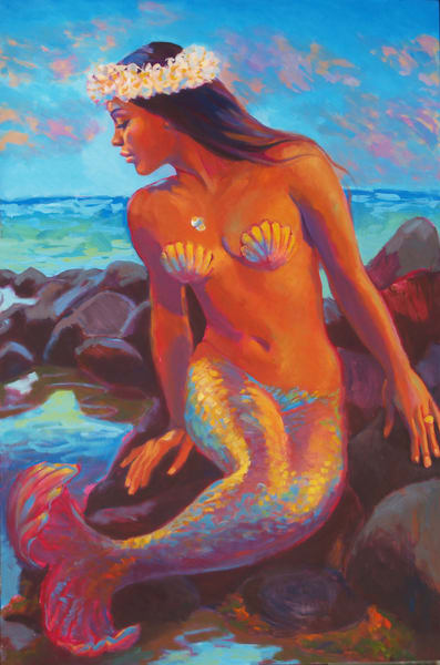 Isa Maria paintings, prints - Hawaii goddess portraits - Wailana Mermaid