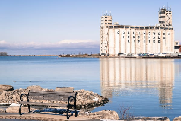 Collingwood Terminals Limited Building and its reflection on the waters of Georgian Bay
