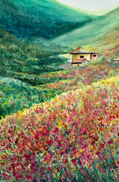 """Flower Valley"" in Watercolors by Aprajita Lal"