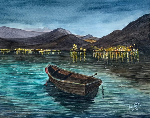 """Dusk"" in Watercolors by Aprajita Lal (part of series on Boats)"