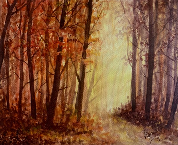 """The Light behind the Woods"" in Watercolors by Aprajita Lal"