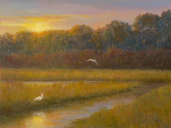 *Sunset Marsh With Egrets* Art | Tarryl Fine Art