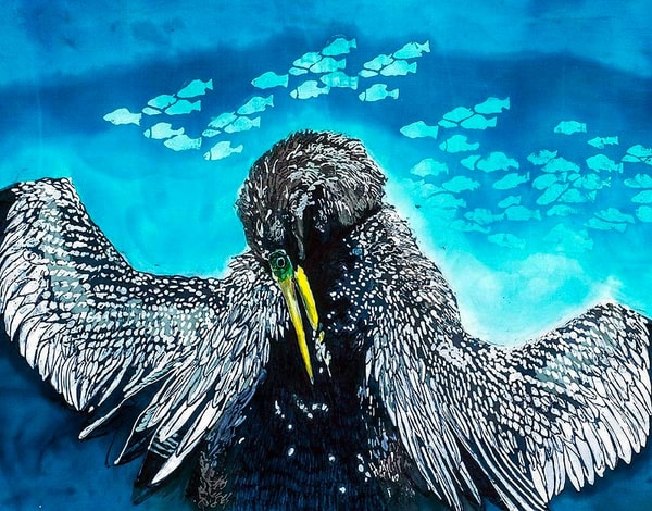 Snakebird. This handsome male Anhinga is from an up close and personal photograph I shot while visiting the Anhinga Trail at Everglades National Park. He is beautifully recreated using the Japanese wax and dye batik process known as rozome on silk a