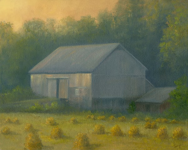 *Sold* Old Barn With Hand Stacked Hay Art | Tarryl Fine Art
