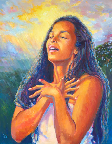 Isa Maria paintings, prints - Hawaii goddess portraits - Hi'iaka's Blessing