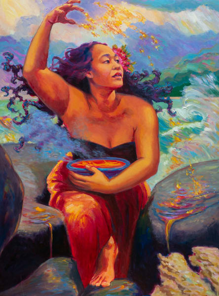 Isa Maria Art Magic -  oil paintings of Hawaii goddesses and mermaids - Pele Plays With Fire