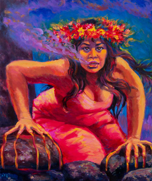 Isa Maria paintings, prints - Hawaii, goddesses, portraits - Pele Rises Again