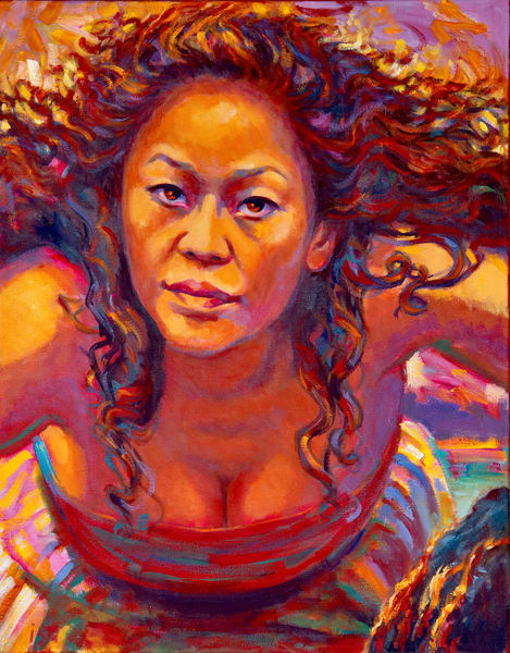 Isa Maria paintings, prints - Hawaii goddess portraits - Pele Ablaze