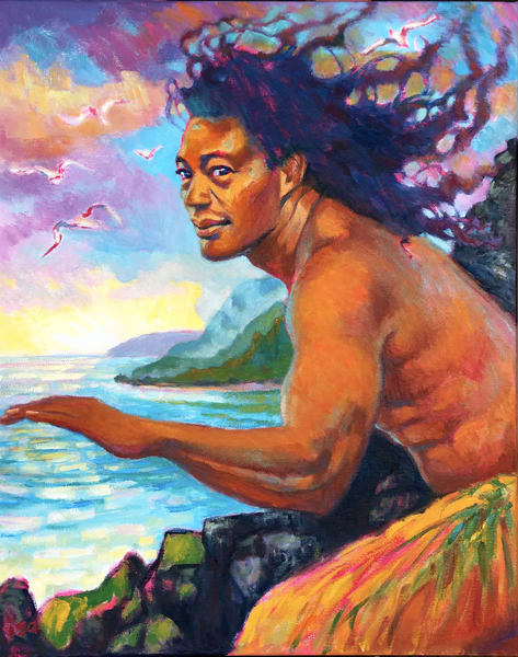Isa Maria paintings, prints - Kauai, Hawaii god, goddess portraits - Lohiau