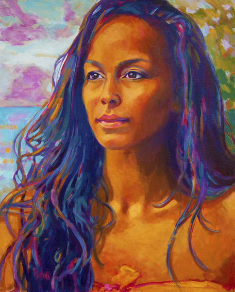 Isa Maria paintings, prints - Hawaii goddess portraits - Healer of the Land