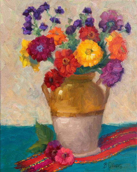 "#14 Zinnias Galore   20""X16"" Original Oil Painting, Unframed Art 