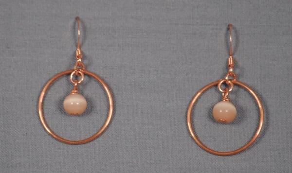 MaryAnn Swinney - handcrafted jewelry - earrings - Copper Circle Cat Eye Glass Earrings