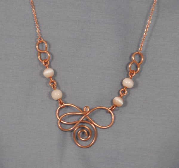 MaryAnn Swinney - handcrafted jewelry - necklace - Copper Signature Swirl Cat Eye Glass Necklace