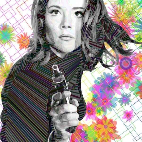 Diana Rigg abstract, algorithmic wall art and photograph by Peter McClard. Emma Peel
