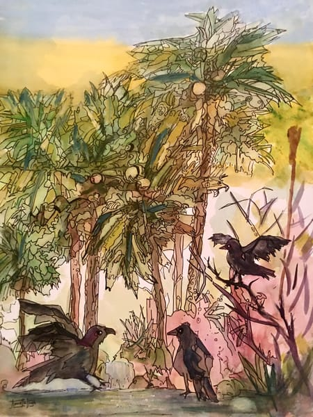 Palm Trees And Three Crows Art | vibrant art studio, Art by Annette Dion McGowan