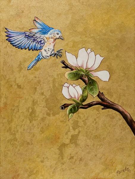 Bluebird Of Happiness   Landing: Original Art | Mercedes Fine Art