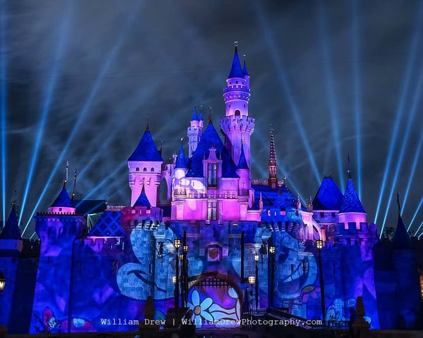 Mickey's Mix Magic With Fireworks Mickey And Minnie Mouse   Disneyland Wallpaper Mural Photography Art | William Drew Photography