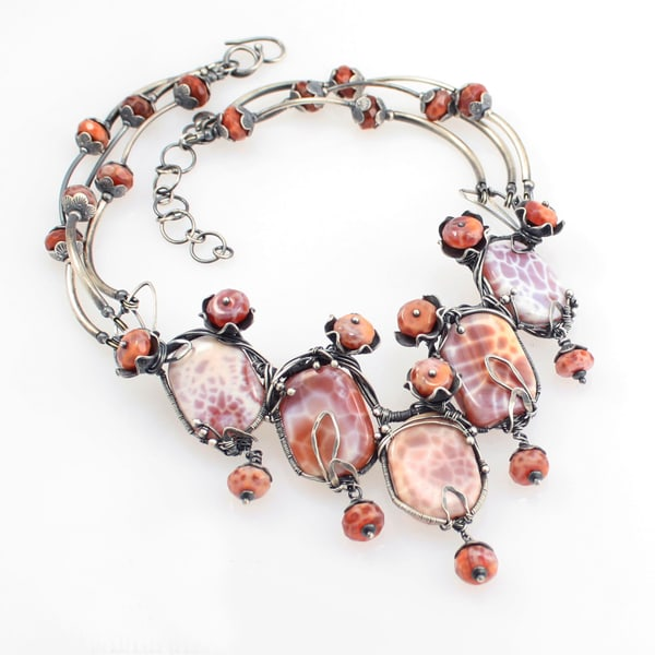 Red Reef Statement Necklace Art | Texas MerMade