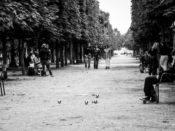 Parisiens At Play In Tuileries Gardens B&W Photography Art | Julie Williams Fine Art Photography