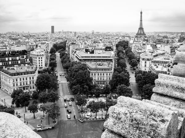 Roads Lead To The Eiffel Tower B&W Photography Art | Julie Williams Fine Art Photography