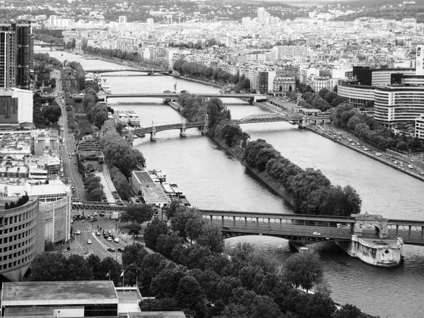 The Bridges Crossing The Seine B&W Photography Art | Julie Williams Fine Art Photography