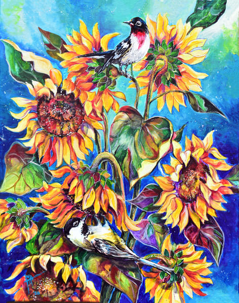 Colorful sunflower and bird art by Tif Choate | Snaiil Candy Fine art print | Snail Candy