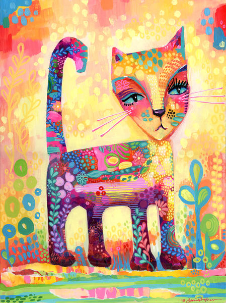 Casual Observer Cat, Original Painting Art   Jessica Hughes Fine Art