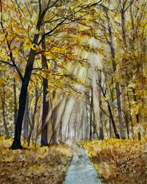 """""""Golden Forest"""" in Watercolors by Aprajita Lal"""