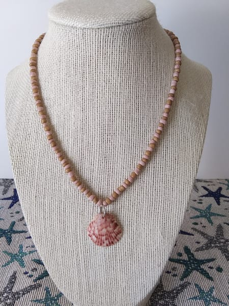 Beach-Colored Scallop Shell Necklace