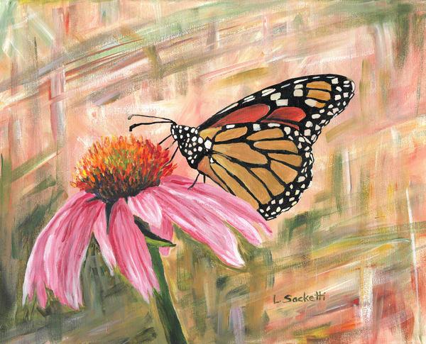 Monarch On A Cone Flower Art   Linda Sacketti