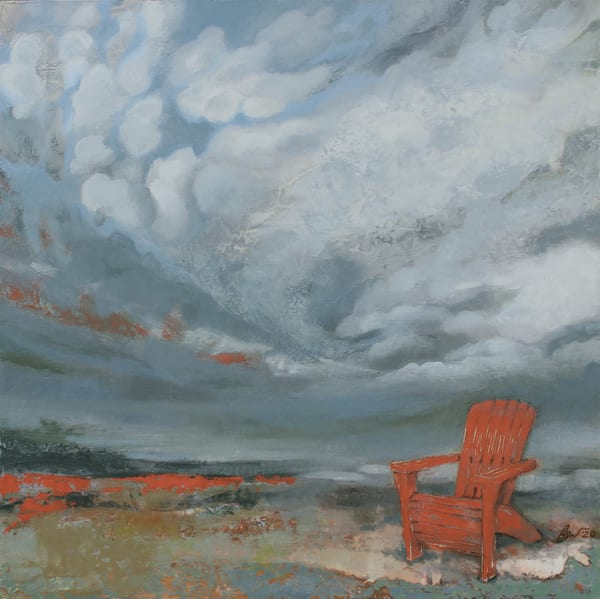 Original oil painting of adirondack chair on cliff, in storm, commissioned cloudscape