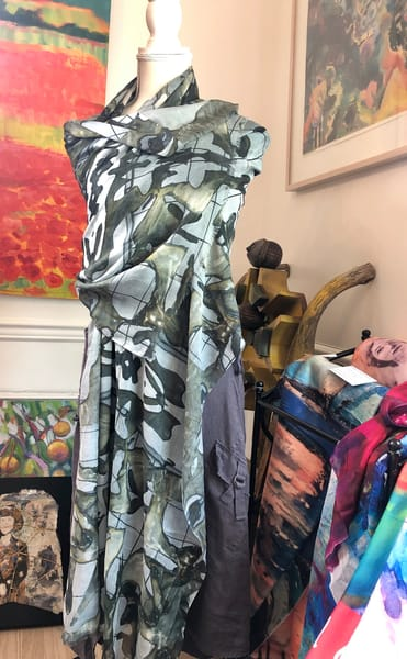 Modal scarf handprinted with Monique Sarkessian's prophetic art, Metal Abstract Joy of Life Matisse sculpture image.