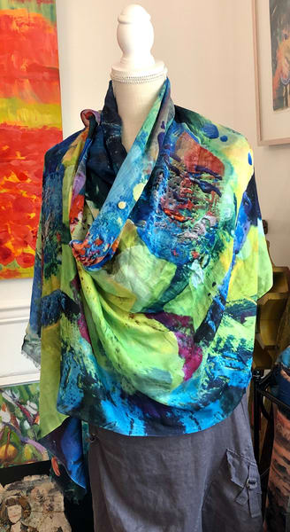 Modal scarf handprinted with Monique Sarkessian's prophetic art, Double Waterliliy  Matisse woman mage.
