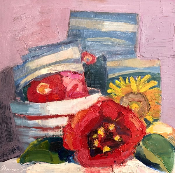 "Striking ""Still Life With Red Camellia and Ferry Morse Seed Packets"" oil painting by Monique Sarkessian."