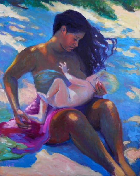 Isa Maria paintings, prints - Hawaii portraits of women and goddesses- Mother Kauai