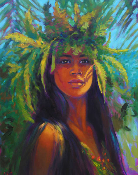 Isa Maria paintings, prints - Hawaii hula and goddess portraits - Haumea