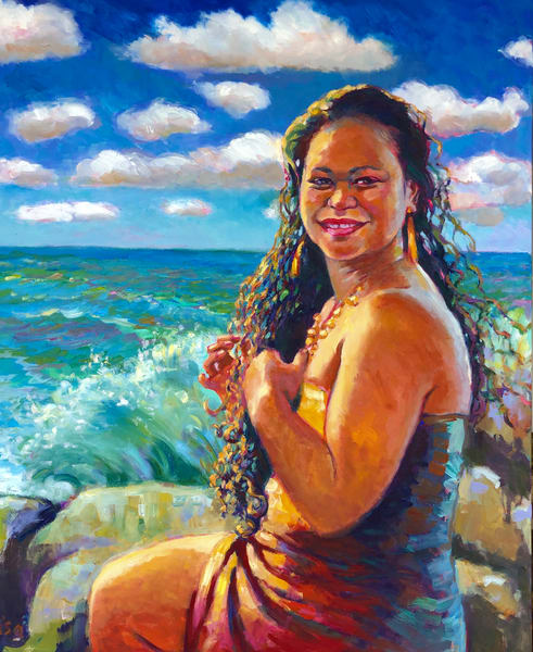 Isa Maria paintings, prints - Hawaii mermaid and goddess portraits - Namakaokaha'i