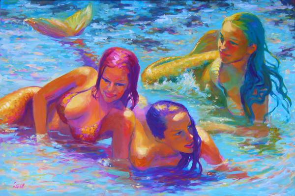 Isa Maria paintings, prints - Kauai - Three Mermaids in Queen's Pond