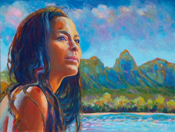 Isa Maria paintings, prints - Hawaii goddess portraits - Hi'iaka at Kalalea
