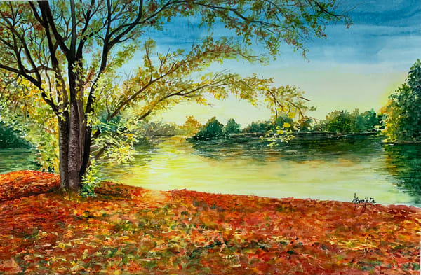 """Autumn Glow"" in watercolors by Aprajita Lal"